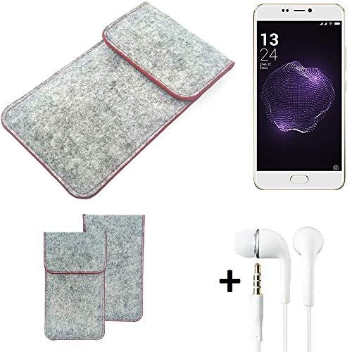 K-S-Trade Handy Schutz Hülle Für Allview X4 Soul Style Schutzhülle Handyhülle Filztasche Pouch Tasche Hülle Sleeve Filzhülle Hellgrau Roter Rand + Kopfhörer