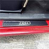 ZWH-box 4 Piezas de Fibra de Carbono para Coche, Placas de protección para el umbral de la Puerta, Pegatina para rayar el umbral, protección de Ajuste para MG Zero, Accesorios para Evitar arañazos