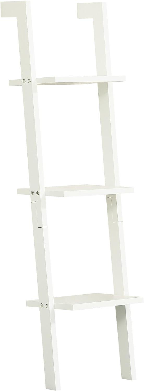 goldlay Modern Wall Ladder Shelf Storage Display Shelving Rack 3 Tiers ZZWJ32 (White)
