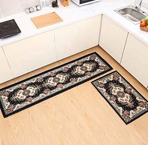 Teppichboden Küche Bodenmatte Lange Griffige Wasserabsorbierende Anti-Öl-Fußmatte Home Bad Tür Haustür Teppich,Blau,50X80+50X180cm