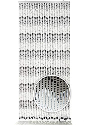 Kobolo Türvorhang Mountain Perlenvorhang 90x200 cm - schwarz weiß