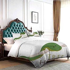 crib bedding and baby bedding dsdsgog three-piece bed sheet set reptile,cute cartoon snake hanging from tree hug love mascot humor comic design print, green navy ecru three-piece bed sheet set
