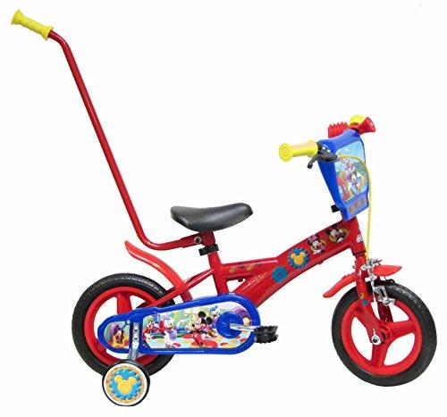Bicicleta Niño Mickey Mouse con Barra de Aprendizaje 10 pul
