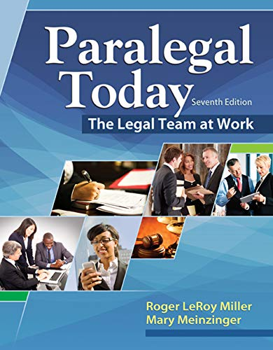 Compare Textbook Prices for Paralegal Today: The Legal Team at Work 7 Edition ISBN 9781305506084 by Miller, Roger LeRoy,Meinzinger, Mary