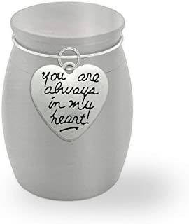 Small Memorial Ashes Vial Urn Keepsake Holder Always in My Heart Container Jar Vial Brushed Stainless Steel Cremation Funeral