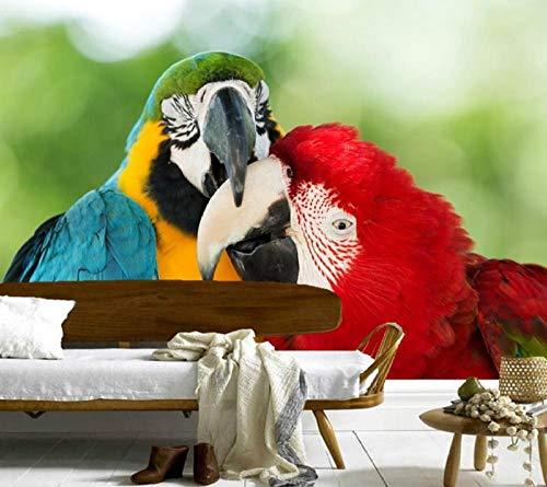 ZJfong aangepaste vogels papegaaien twee snavel dieren foto 3D behang woonkamer bank TV muur slaapkamer behang muurschildering 220 x 140 cm.