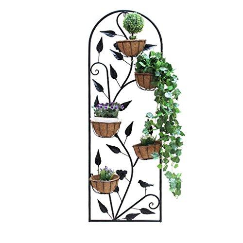 Du hui Eisenkunst Wandmontierter Blumenständer, Continental Multilayer Blumenkastenständer, Innendekoration An der Wand Blumenständer (Farbe : Schwarz, größe : Self Tapping Screw)