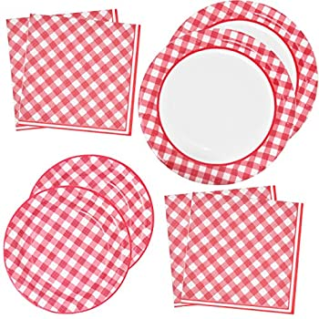 Red Gingham Party Supplies Tableware Set 50 9  Plates 50 7  Plate 100 Luncheon Napkin Disposable Dinnerware Paper Goods Red & White Gingham Checkered Plaid Picnic Barbecue Birthday Party Gift Boutique