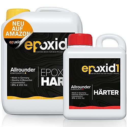 epoxid1® Epoxidharz mit Härter 3,25kg Set | glasklar & blasenfrei | ideal zum Basteln & Gießen von Resin Art | Kunstharz Set für Anfänger & Profis | Premium Qualität Made in Germany