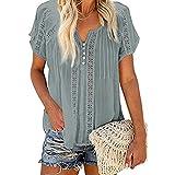 Anaike Camiseta casual de manga corta para mujer, color sólido, ahuecado con cuello en V, blusa suelta para verano, gris, XXL
