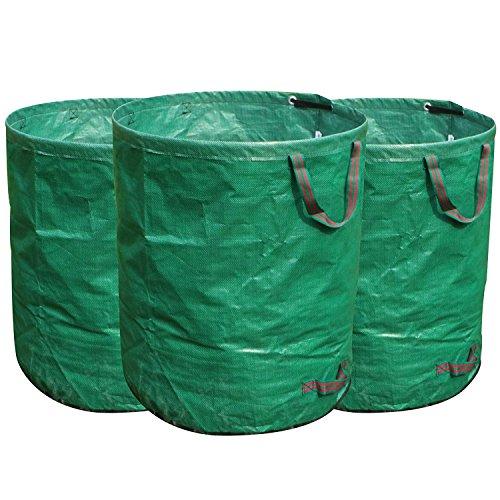FLORA GUARD 272Lガーデンバッグ - ガーデンバケツ 大型庭用袋 自立式 折り畳み 再利用可能な(3パック)