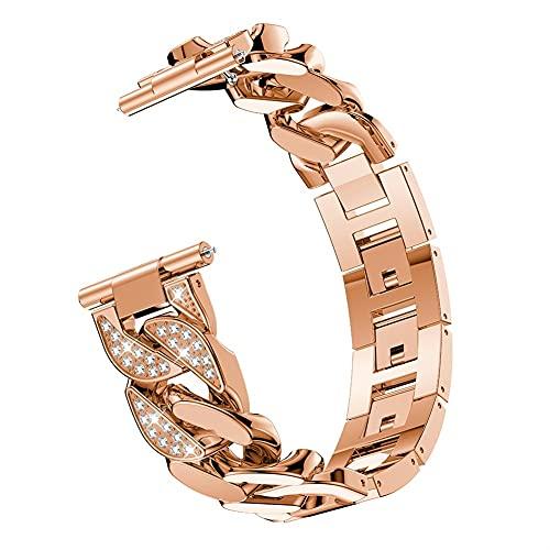 Pulsera De Diamante De 22 Mm 20 Mm For Sams Galaxy Watch 3 Banda Correa Cadenas Metal Relojes De Reloj 10688 (Band Color : Rose gold, Band Width : For Galaxy Watch 46)