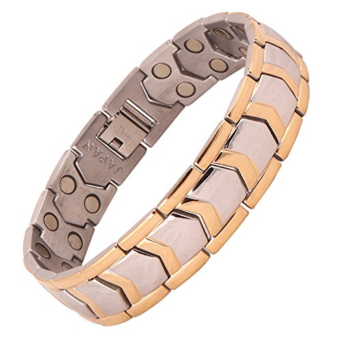 AMAZHEAL Metal Silver Plated and Bio Magnetic Double Ton Bracelet for Men's (Gold & Silver)