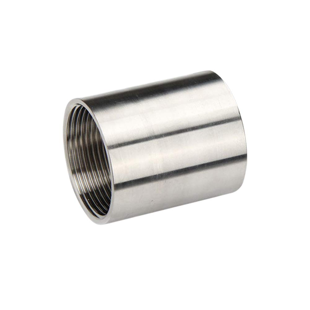 1//4 x 1//4 NPT Female Thread Female Female Coupling Polished Feelers 304 Stainless Steel Cast Pipe Fitting 1 inch Length
