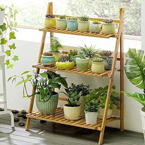 Soporte para plantas de bambú de 3 niveles para interiores y exteriores, estante de madera para flores, soporte plegable para expositor de plantas, 70 x 40 x 96 cm (color madera)