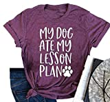 My Dog Ate My Lesson Plan T-Shirts Womens Dog Mom Short Sleeve Summer Graphic Tees Tops Size S (Claret)