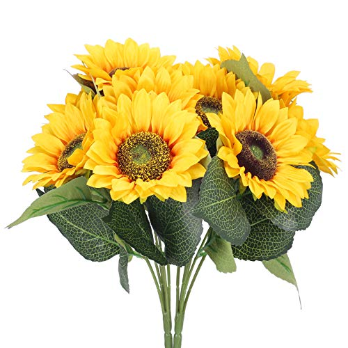 DWANCE 2pcs Sonnenblume Künstlich Sonnenblumen Seidenblumen Kunstblumen Deko Plastikblumen Sunflowers für Vase Zimmer Balkon Garten Hochzeit Gelb
