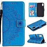 HTDELEC Xiaomi Redmi 9A Hülle,Ultra Slim Flip Hülle Blau