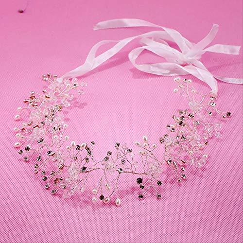 Bruid Handgemaakte Kristal Parel Haarband Accessoires Mooie Zijde-led Tiara Jurk Accessoires
