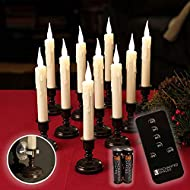 Set of 10 Flameless Ivory Window Candles with Removable Bronze Candle Stands, 20 AA Batteries, Remote Control, Daily Timer, Window Suction Cups, Battery Operated LED Light
