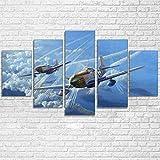 5 piezas Cuadro de lienzo - Aviones militares de la Segunda Guerra Mundial pintura 5 impresiones de imágenes Decoración de pared para el hogar Pinturas y carteles de arte HD 200cmx100cm Sin marco