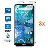 REY Pack 3X Panzerglas Schutzfolie für Nokia 7.1, Bildschirmschutzfolie 9H+ Festigkeit, Anti-Kratzen, Anti-Öl, Anti-Bläschen