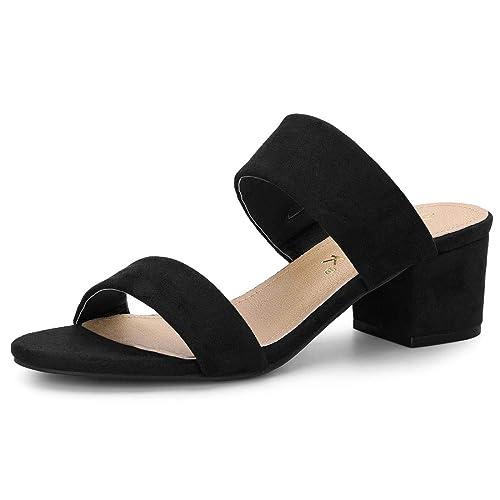 74aaab390d3 Allegra K Women s Block Heel Dual Straps Slide Sandals