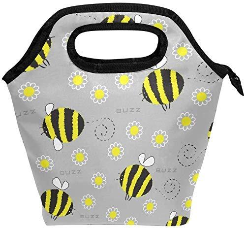 Bolsa de almuerzo con cremallera con aislamiento de abeja, bolsa de asas más fresca para adultos, adolescentes, niños, niñas, niños, hombres, mujeres, Margarita, abejas, loncheras, loncheras, prepara