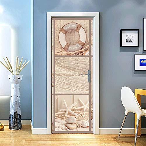 KEXIU 3D Collage de red de pesca PVC fotografía adhesivo vinilo puerta pegatina cocina baño decoración mural 77x200cm