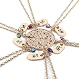 Top Plaza 6 Pcs Rose Gold Best Friends Forever BFF Friendship Necklace Engraved Rhinestone Pizza Pendant Necklaces