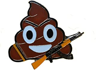 Brown Poo/Ice cream Emoji with a Russian AK-47, an Anti-War Lapel Enamel Pin/Smiley emojis, 1 piece, metal Brooch