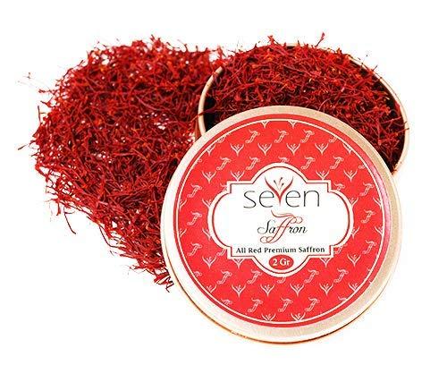 Seven Saffon Premium All Red Pure Saffron Threads, Grade A+, Highest Grade (2 Grams)