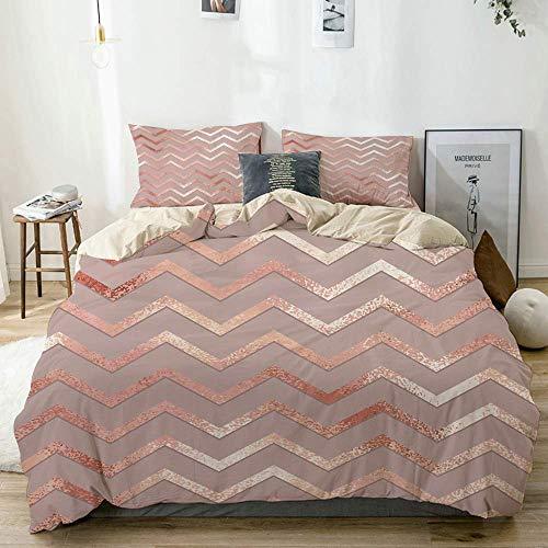 Juego de funda de edredón de color beige, estilo escandinavo, diseño elegante de vectores de oro rosa, juego de cama decorativo de 3 piezas con 2 fundas de almohada, funda de edredón de 230 x 220 cm