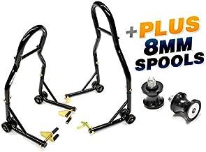Venom Sport Bike Venom Motorcycle Front & Rear Combo Wheel Lift Stands Fork & Swingarm Stands Paddock Stands + Low Profile 8mm Black Swingarm Spools (Fits Most Honda/Suzuki Bikes)