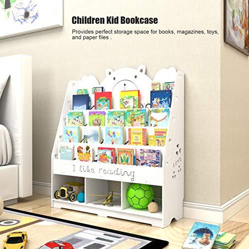 Cikonielf Libreria per Bambini a 5 Livelli, Scaffale per Giocattoli per Bambini con 3 Scatole Porta Giocattoli, in Legno-plastica,per Libri, riviste, Giocattoli,100x32x104 cm