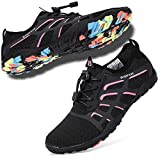 hiitave Water Shoes for Women, Ladies Aqua Beach Swimming Shoes for Diving, Surf, Pool, Kayaking Black/Fushia W10/M8.5