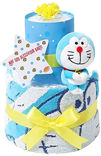 ドラえもん 出産祝い 2段 おむつケーキ 名入れ刺繍 女の子 男の子 男女兼用 出産記念 御出産祝い 名前入り お洒落 オシャレ Doraemon ギフト ドラちゃん ぬいぐるみ どらえもん パンパースはじめての肌へのいちばん(テープタイプMサイズ)