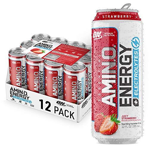 Optimum Nutrition Amino Energy + Electrolytes Fitness & Energy Drink - Sugar Free, Sparkling Hydration - Juicy Strawberry, 12 Count