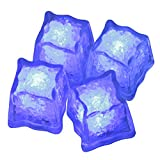 LED-Highlights Deko Eiswürfel leuchtend blinkend im 4er Set blau Party Licht Kunststoff Würfel wasserdicht mit Batterie