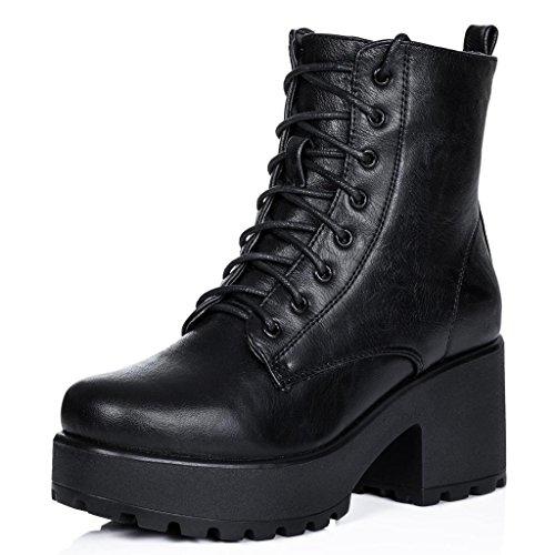 Spylovebuy Stiefeletten Ankle Boots Schuhe Blockabsatz Plateau Schnür Schwarz Synthetik Kunstleder...