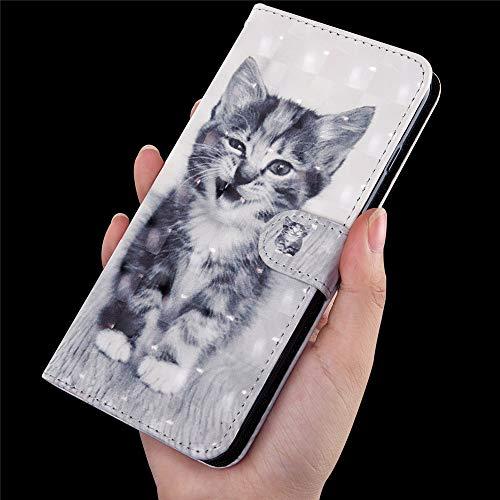 DodoBuy 3D Hülle für Huawei Y6 2019/Honor 8A, Flip PU Leder Schutzhülle Handy Tasche Brieftasche Wallet Case Cover Ständer mit Kartenfächer Trageschlaufe Magnetverschluss - Katze - 4