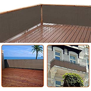 zimo Balcony Privacy Shield UV Protection Opaque Weather-Resistant Balcony Cover (Grey)