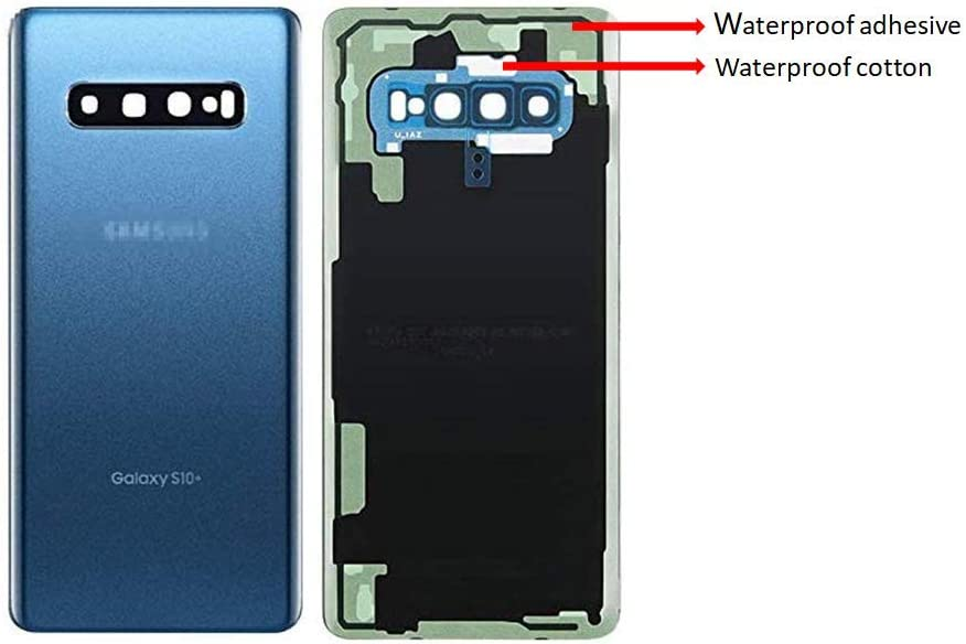 Galaxy S10+ Plus Real Panel Back Glass Replacement Cover Waterproof Assembly Replacement with Camera Frame Parts for Samsung Galaxy S10+ Plus SM-G975U G975W OEM with Tools (Blue)