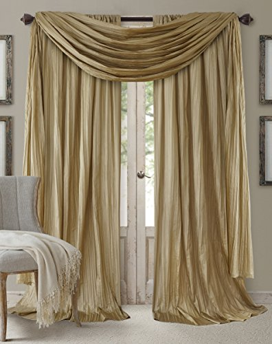 "Elrene Home Fashions Athena Faux Silk Light Filtering Window Curtain Panel Set and Scarf Valance, 52""x84"" (2 1, Gold"