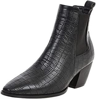 MisaKinsa Women Fashion Chelsea Boots Chunky Heels Ankle Boots