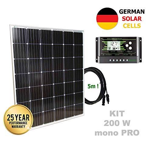 VIASOLAR Kit 200W Pro 12V Panel Solar monocristalino células alemanas