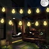 Lampadina Solare, EONANT Lampadine a Forma di Lampadine di Plastica 3.5M 10 LED Impermeabili con 2 Modi Illuminazione per Esterni, Giardino, Decorazioni Natalizie (Bianco Caldo)