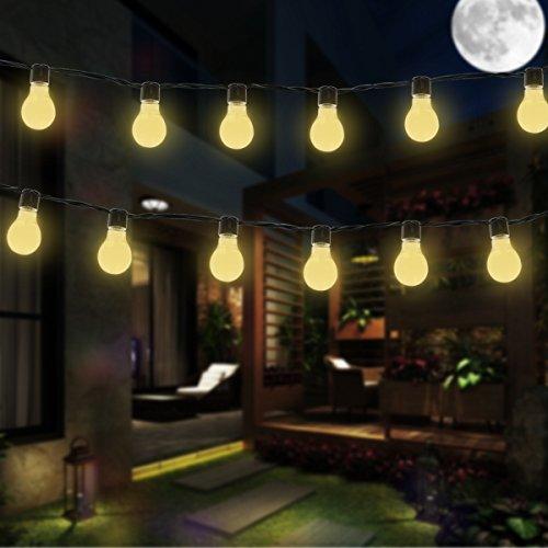 Bombilla Luces de luz Solar, EONANT 3.5M 10 Bombillas de LED de Plástico Luces Encadenar Impermeable con 2 Modos de Iluminación para el Exterior, Jardín, Decoraciones de Navidad (Blanco Cálido)