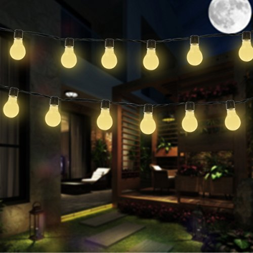 Solar Bulb Lights, EONANT 3.5M 10 LED Plastic Solar Bulbs String Lights Waterproof with 2 Modes Lighting for Outdoor, Garden, Christmas Decorations (Warm White)