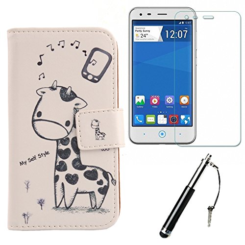 Lankashi Giraffe Design PU Flip Leder Tasche Für ZTE Blade L110 A110 4